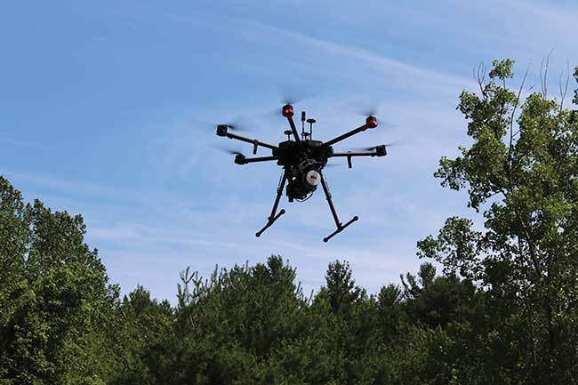 This UAV features a fully integrated multirotor remote-sensing platform with a micro-hyperspectral (SWIR 900- to 2500-nm) camera, HyperCore data hub and a full GPS/IMU (inertial measurement unit).