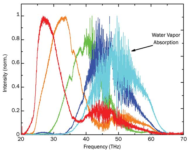 FTIR spectrometer measurements showing exemplary output spectra of the FemtoFiber dichro midIR fiber laser and the water vapor absorption lines around 50 THz.
