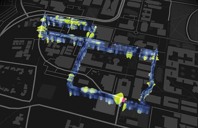 This map shows the location of a 3-mile, figure-eight loop of optical fibers installed beneath the Stanford University campus as part of the fiber optic seismic observatory.