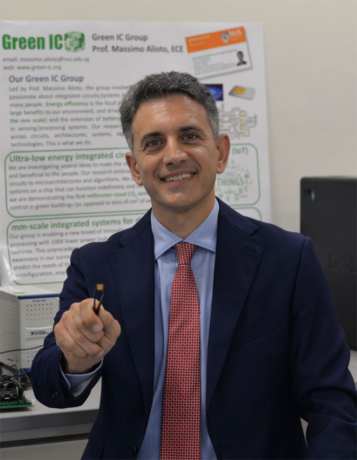 Associate Professor Massimo Alioto, National University of Singapore, with EQSCALE, a new tiny vision processing chip.