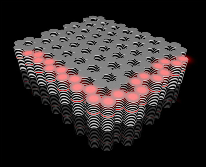 The novel topological insulator built in the Würzburg Institute of Physics: a controllable flow of hybrid optoelectronic particles (red) travels along its edges. Courtesy of Karol Winkler.