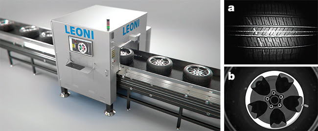 LEONI's Wheel and Tire Validation System prevents mismatched automotive wheel-tire combinations from being made, simplifies changeover and training for new models of tires and wheels, and provides 3D and 2D surface analysis of key features. This system identifies defects such as a mark on a tire (a), and validates the color, style, and orientation of the center cap (b). Images courtesy of Leoni.
