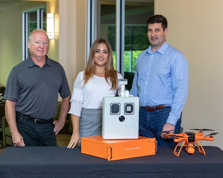 The inventors of the integrated sensor technology: Peter Fuhr, left, Marissa Morales-Rodríguez and Sterling Rooke. Courtesy of Oak Ridge National Laboratory, U.S. Dept. of Energy.