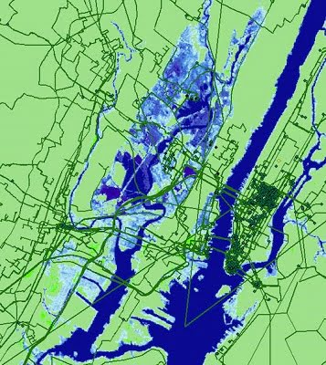 Seawater inundation projected for New York City by 2033 and its effect on internet infrastructure. Undersea cables, long haul fiber cables and metro fiber cables are shown in the red/green/black lines respectively. Anything in the blue shaded areas is estimated to be underwater in 15 years due to climate change induced sea level rise as projected by the National Oceanic and Atmospheric Administration. Courtesy of Paul Barford/University of Wisconsin-Madison.