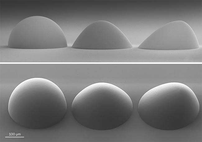 Figure 1. (From left) 3D-printed hemispherical lens, aspheric lens, and freeform asymmetric lens.