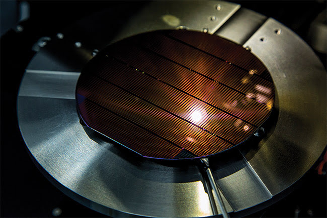 A VCSEL wafer in production.