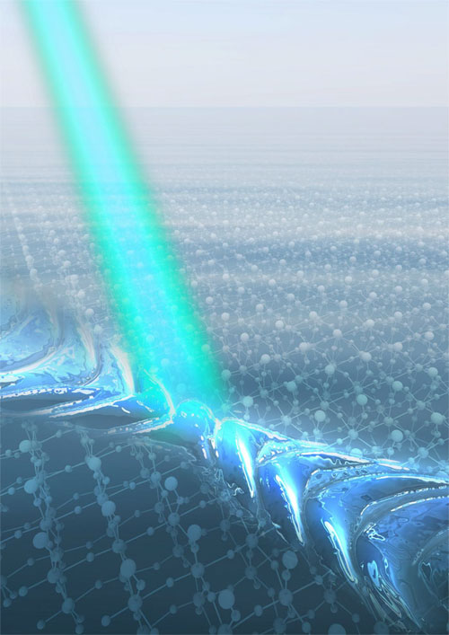 Illustration of directional nanolight propagating along a thin layer of molybdenum trioxide. Courtesy of  Shaojuan Li.