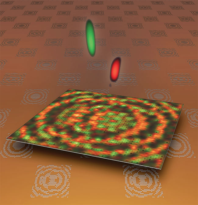 Figure 4. A prototype of a multiphase titanium nitride (TiN) lattice metalens creates a 3D foci pattern with two focal points above the surface. Courtesy of Northwestern University.