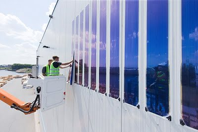 World's largest façade installed with organic photovoltaics in the port of Duisburg.