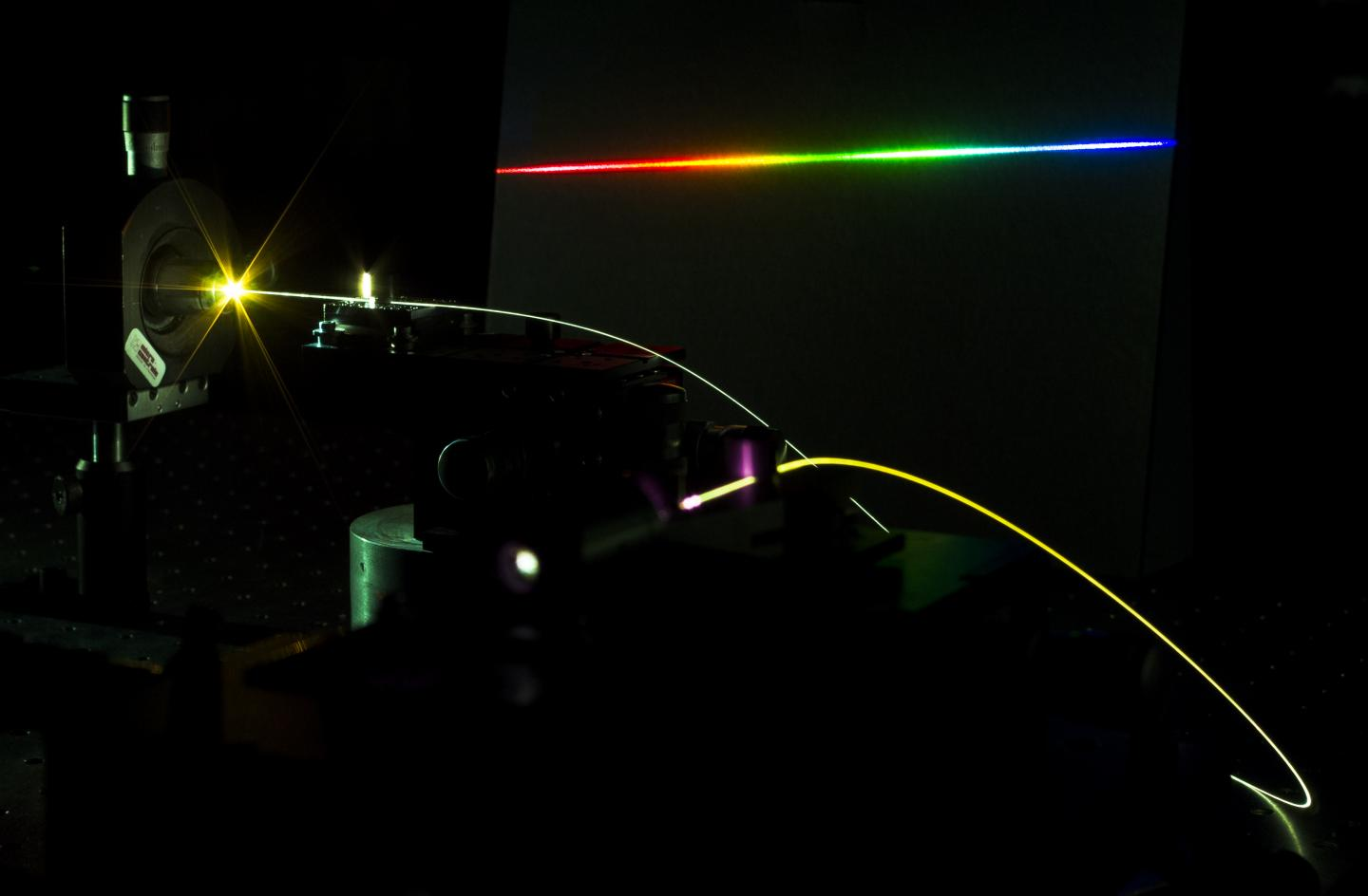 An ultrashort pulse is sent into an optical fiber and produces new frequency components via intense light-matter interactions. INRS and University of Sussex.