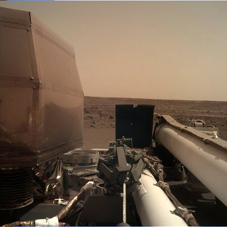 NASA's InSight Mars lander acquired this image using its robotic arm-mounted, Instrument Deployment Camera (IDC). This image was acquired on November 27, 2018, Sol 1 where the local mean solar time for the image exposures was 13:32:45. Each IDC image has a field of view of 45 x 45 degrees.