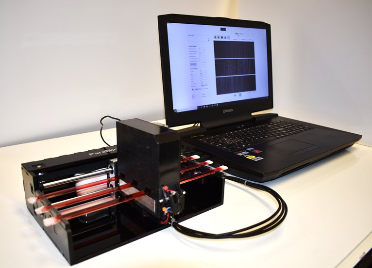 High-throughput bodily fluid screening device, which screens and analyzes ~3.2 mL of fluid sample within ~20 min. UCLA Samueli School of Engineering.