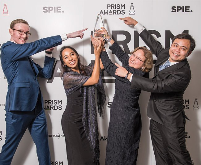 2018 Prism Award winners from Spheryx Inc. From left: Jaroslaw Blusewitz; Priya Kasimbeg; Laura A. Philips, president and CEO; and Fook Chiong Cheong. Images courtesy of SPIE.