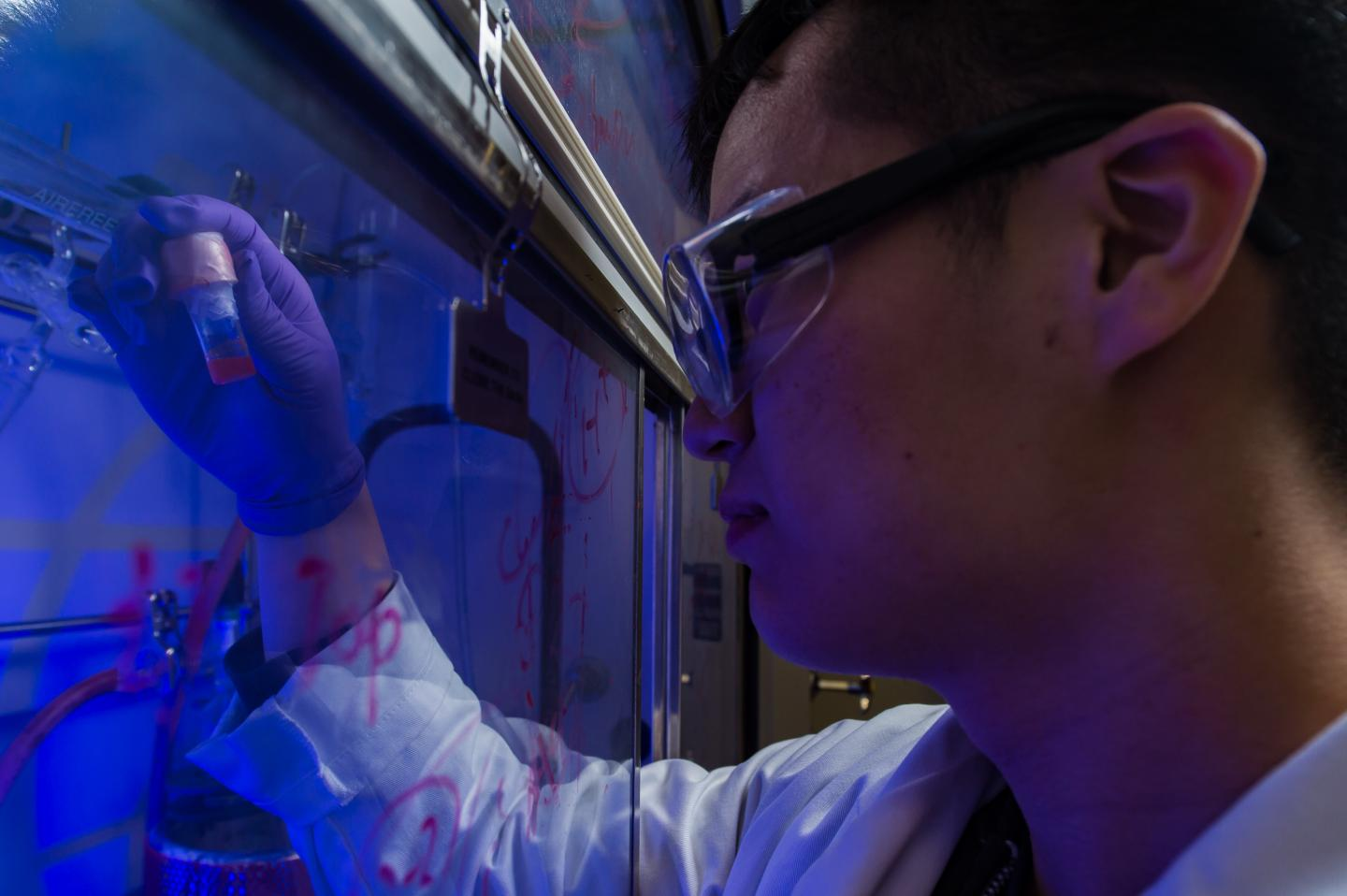 Rice University graduate student Yifan Zhu holds a vial of photosensitive, semiconducting quantum dots the lab uses as a catalyst to make functional synthetic polymers powered by light. Courtesy of Jeff Fitlow/Rice University.