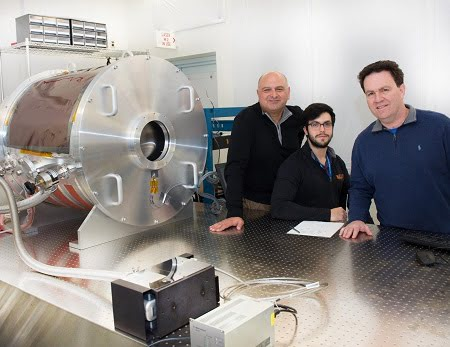 Goddard optics experts Babak Saif (left) and Lee Feinberg (right), with help from engineer Eli Griff-McMahon an employee of Genesis, have created an Ultra-Stable Thermal Vacuum system that they will use to make picometer-level measurements.