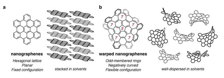 Flexible warped nanographene developed for bioimaging, Nagoya University.