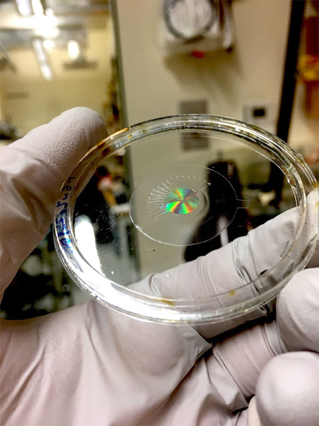 Metalens (made of silicon) mounted on a transparent, stretchy polymer film, without any electrodes. Harvard University/SEAS.