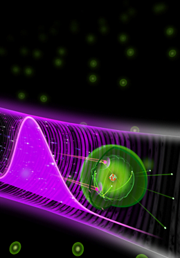 After the interaction of a xenon atom with two photons from an attosecond pulse (purple), the atom is ionized and multiple electrons (green balls) are ejected, LMU.