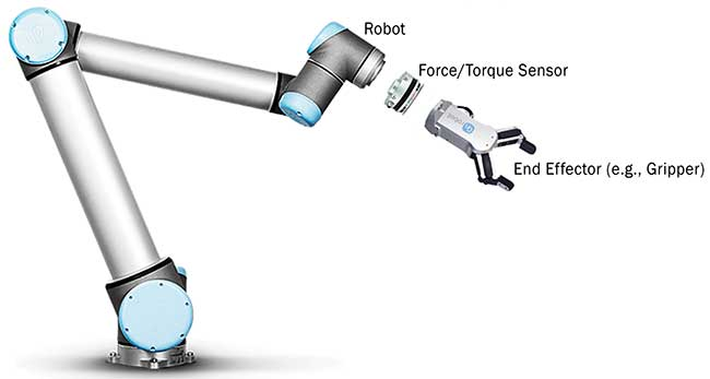 An optical force/torque sensor is mounted between the robot arm and the end of the arm tool.
