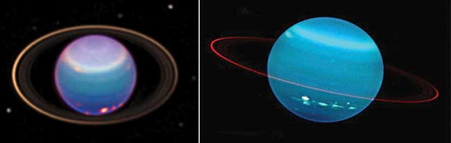 Uranus as seen by the Hubble Space Telescope in infrared light