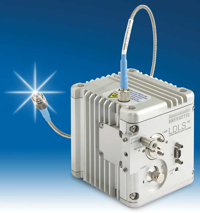 An LDLS (laser-driven light source) module from Energetiq Technology Inc., powered by a separate solid-state laser unit (not shown).