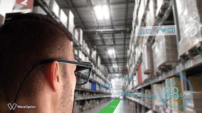 This illustrated view shows how a user of AR smart glasses would see useful information overlaid on the scene of a warehouse.