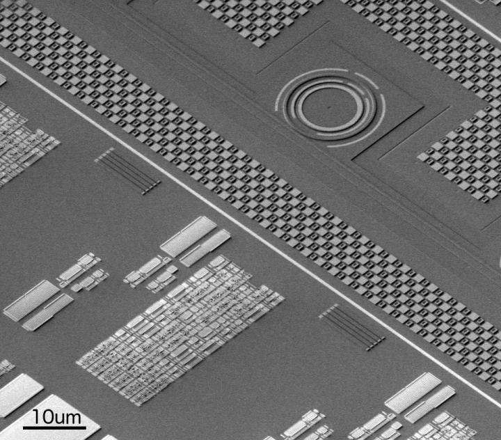 Three-dimensional electron microscope image of a region of the MIT-UC Berkeley-BU electronic photonic chip, showing a photonic ring resonator in the top right, alongside an electronic circuit block in the bottom left. Courtesy of CSNE Albany.