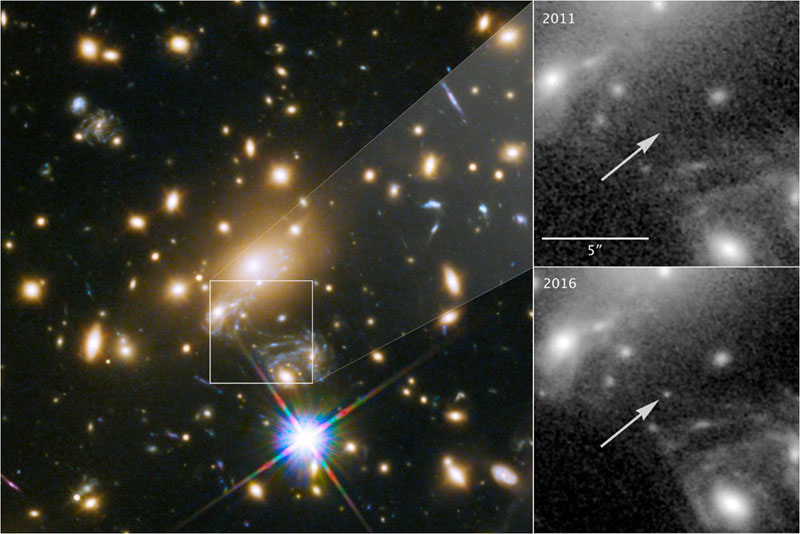 Icarus, officially names MACS J1149+2223 Lensed Star 1, is the farthest individual star ever seen. University of Minnesota, UC Berkeley.