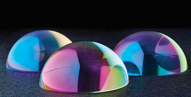 Uniformly coated glass hemispherical domes.
