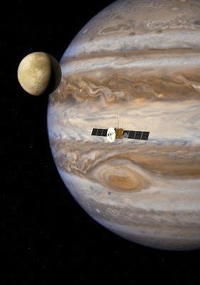 JUICE mission artist's impression of a strong electron field face by JUICE mission in Jupiter orbit. Courtesy of ESA.