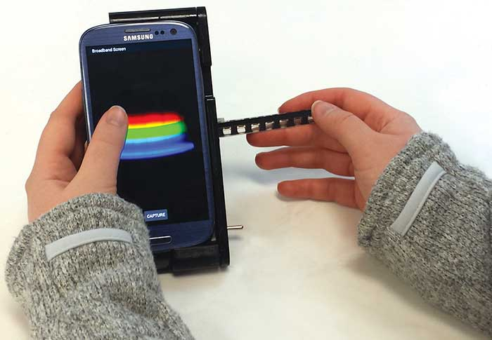 "The TRI Analyzer, inspired by the ""Star Trek"" tricorder, detects color changes in biological assays."