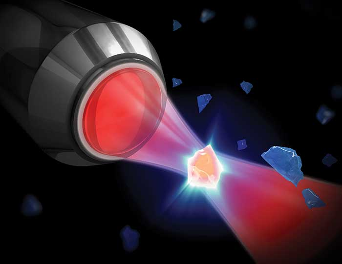 Artist's conception of cavity optomechanical cooling of a nanocrystal.