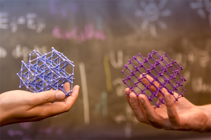 Models of the atomic lattice structure of the quantum spin ice, praseodymium hafnate (Pr2Hf2O7). Courtesy of OIST.