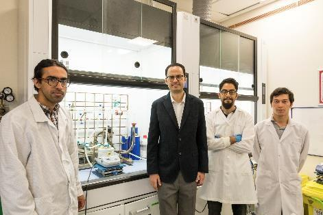 Pictured are Mohammad Mohammadi Aria, Sedat Nizamoglu, Sadra Sadeghi and Rustamzhon Melikov from Koç University in Turkey. The research team demonstrated that their liquid-based white LEDs could achieve an efficiency double that of LEDs that incorporate quantum dots in solid films.