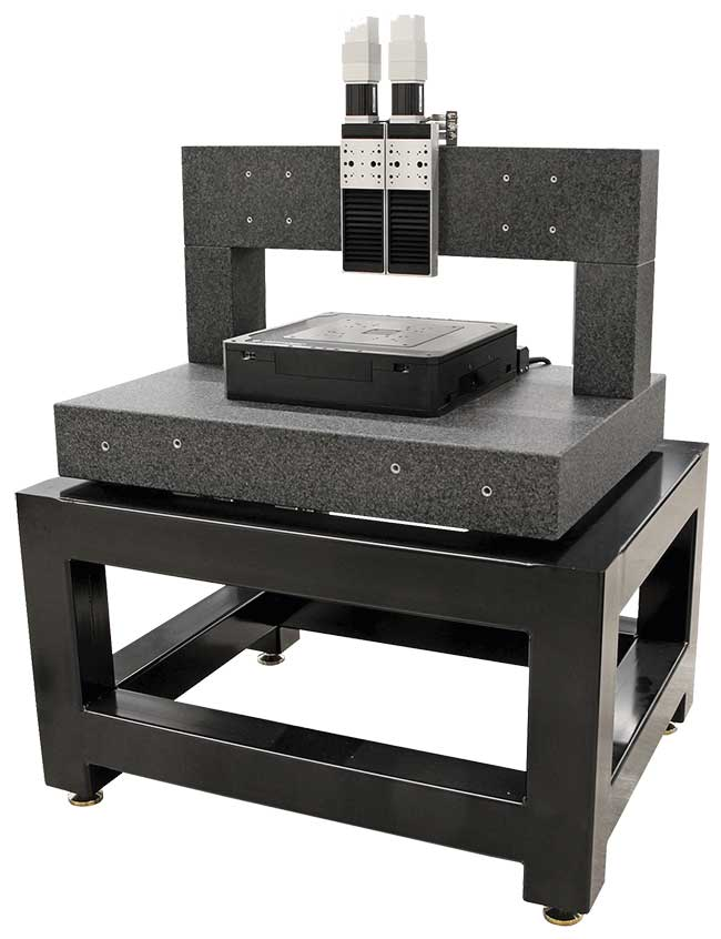 An example of using granite and a machine base to add stabilizing mass and increase stiffness, respectively.