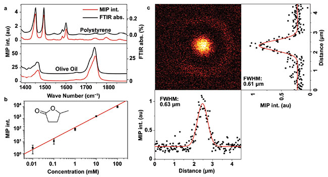 Performance of a mid-infrared photothermal (MIP) microscope. Spectral fidelity