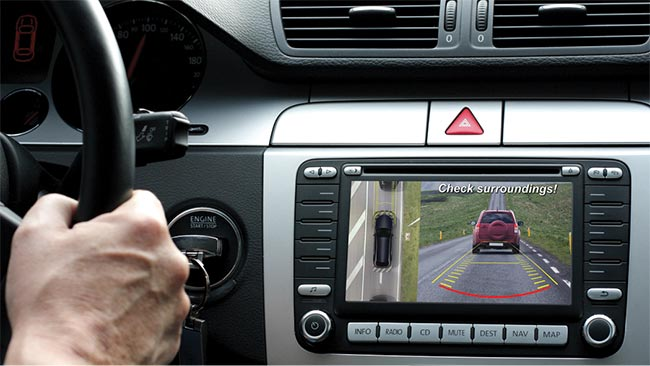 Example of a surround view system (SVS), which merges input from multiple sensors to present an image to the driver of a vehicle's surroundings.