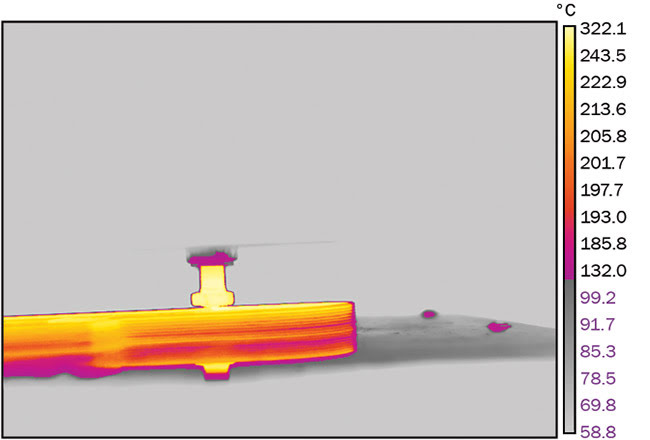 Thermal image of a carbon-based polymer AM process.