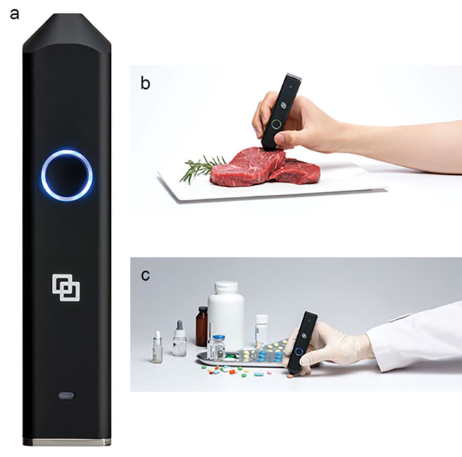 The LinkSquare device (a) is an easy-to-use, hand-held spectrometer that connects to a smartphone via Wi-Fi. The device can analyze the freshness of meat (b), and the authenticity of medicine (c).