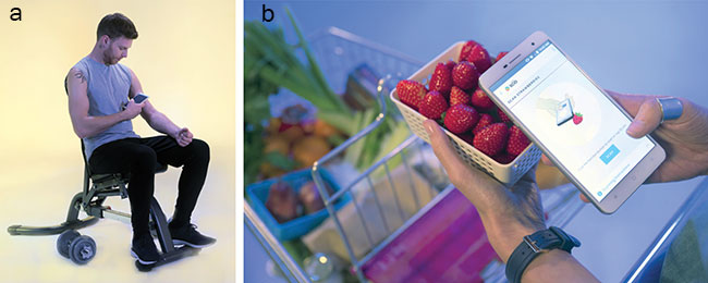 he Changhong H2 can be used for several health-related analyses (a) and can detect the freshness and sweetness of fruits such as strawberries (b).