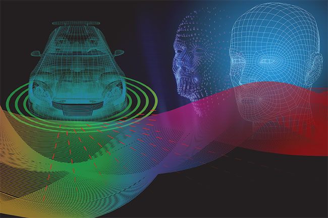 Artist's conception of 3D imaging in an automotive application. 3D imaging is playing a key role in pick-and-place, assembly, and inspection.