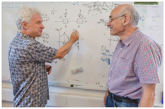 Eugene Polzik and Farid Khalili from LIGO collaboration and Moscow State University have recently published in the scientific journal Physical Review Letters how they can improve gravitational wave detectors. Courtesy of Ola J. Joensen.