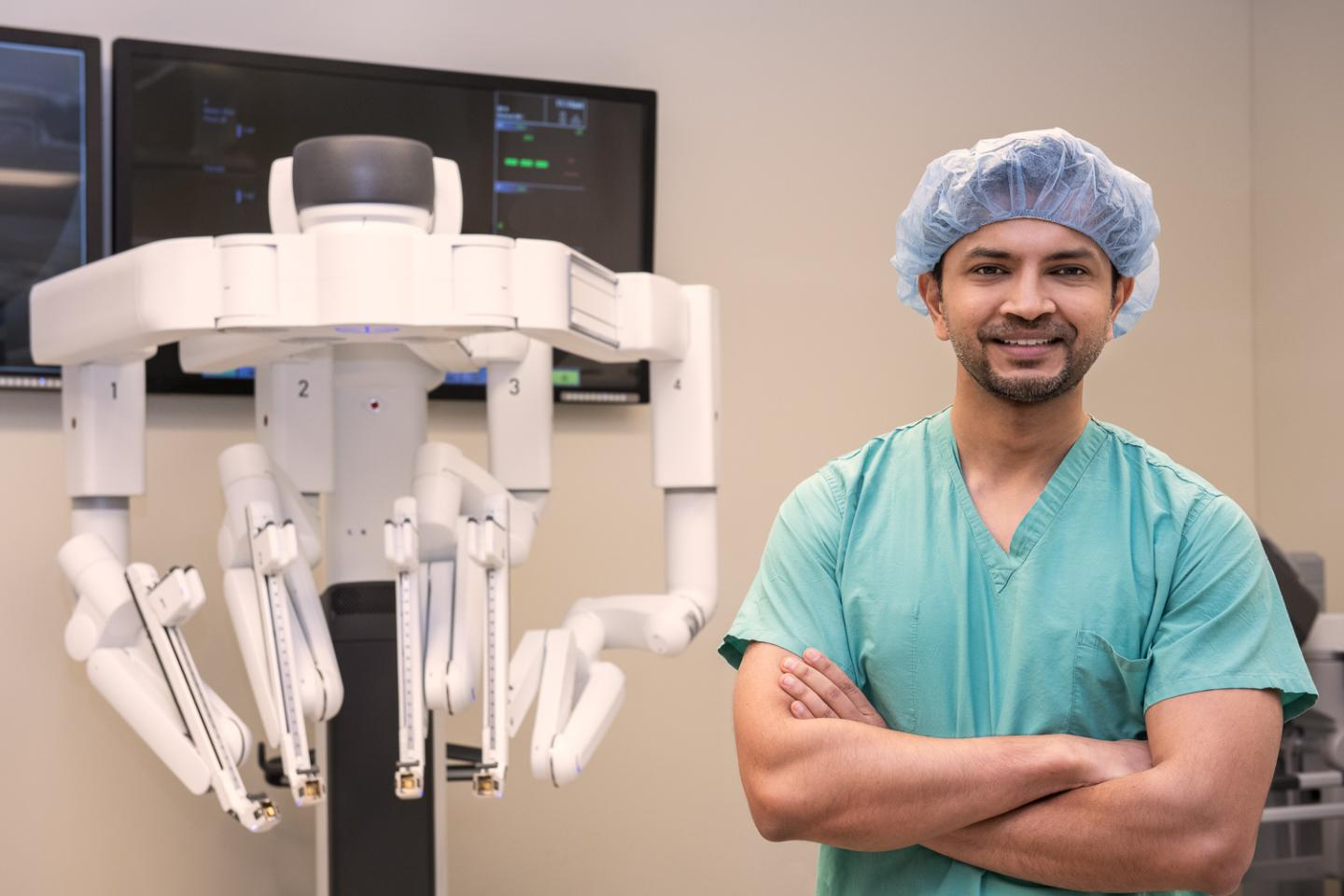 Dr. Ankit Bharat, Northwestern Memorial Hospital, completed robotic-assisted lung volume reduction surgery.