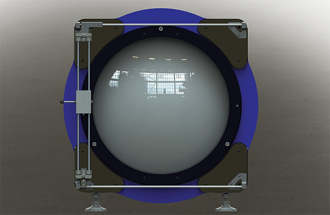 Figure 4. Gantry-type alignment laser setup. The gray rectangle contains an alignment laser that can be moved to any part of the 600-mm aperture. Courtesy of 4D Technology Corp.