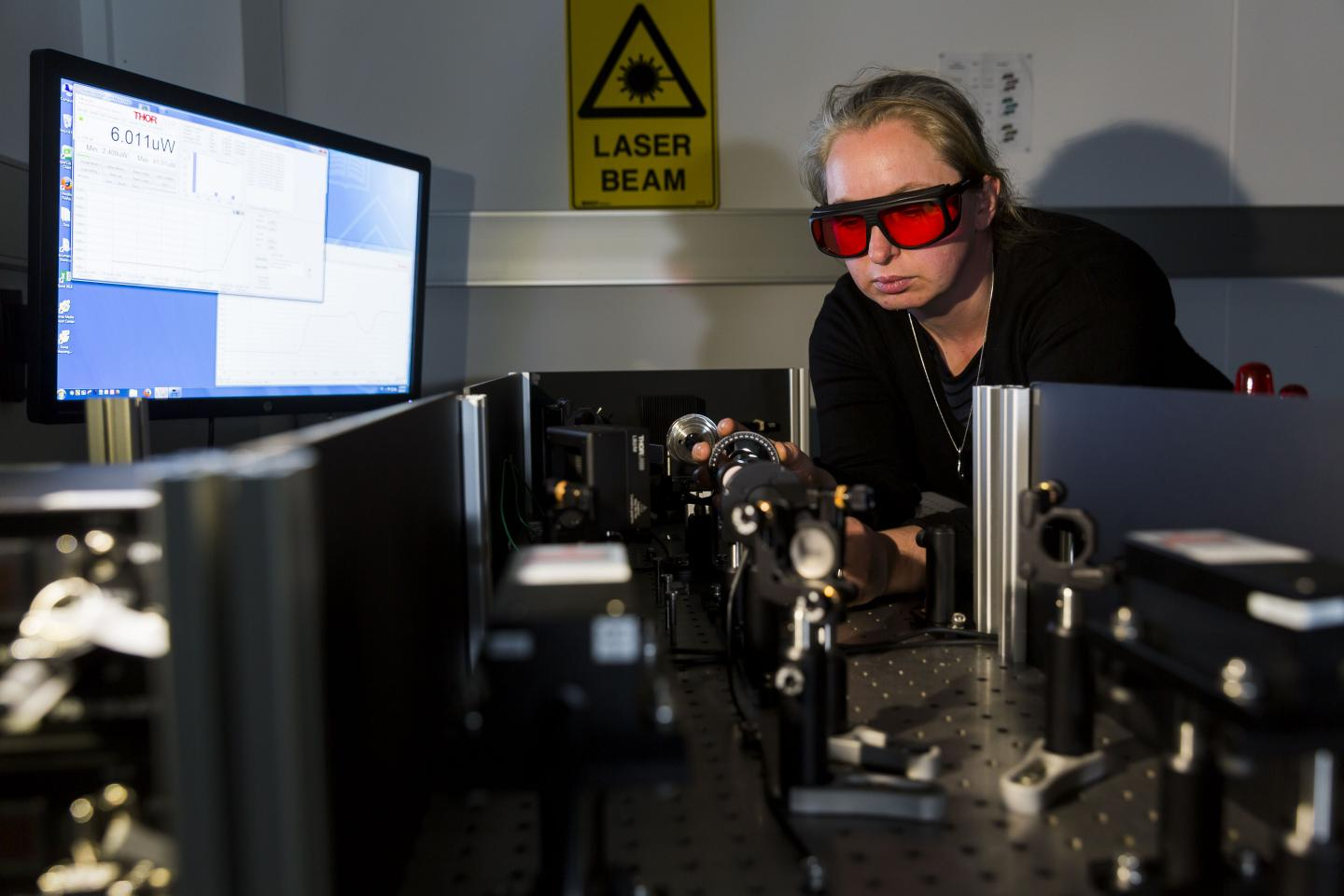 Dr. Clare Manderson with the laser incubation technology. Courtesy of Monash University.