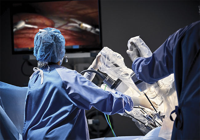 Intuitive Surgical Inc.'s da Vinci is among the most well-known surgical robotic systems. Courtesy of Intuitive Surgical Inc.