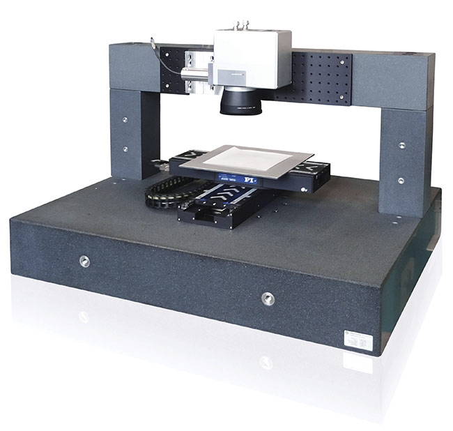 Figure 1. A motion solution that combines a high-speed laser galvo scanner and larger motion platforms into a single controller interface, making laser machining a far more flexible, seamless process. Courtesy of PI (Physik Instrumente).