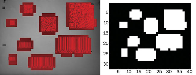 Figure 2. An automatic barcode location in an image sensor. A 5-MP image data output by the image sensor (a). A 1-byte image footer output by the image sensor (b). Courtesy of Teledyne e2v.