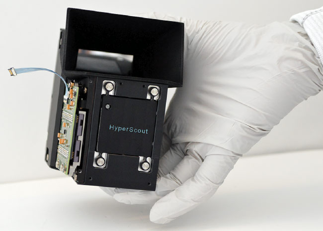 Figure 1. The HyperScout hyperspectral imager, now in orbit aboard the GomX-4B CubeSat, gathers environmental data in 45 different spectral bands and performs its own onboard processing to reduce the amount of data sent back to the ground. Courtesy of Cosine Measurement Systems.
