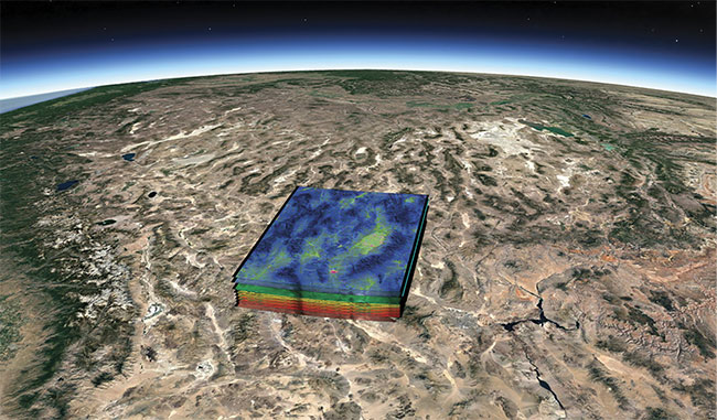 Earth-observing hyperspectral satellites obtain images along with highly precise spectral information in hundreds of nearly contiguous bands. Correlating the spectrum with a pixel in the image enables location of molecular and chemical signatures in the environment, such as methane emission from industrial facilities. Courtesy of Cosine Measurement Systems.